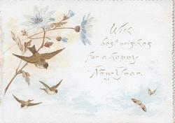 WITH BEST WISHES FOR A HAPPY NEW YEAR bluebirds of happiness fly around pale blue daisies, flowers & birds also on back
