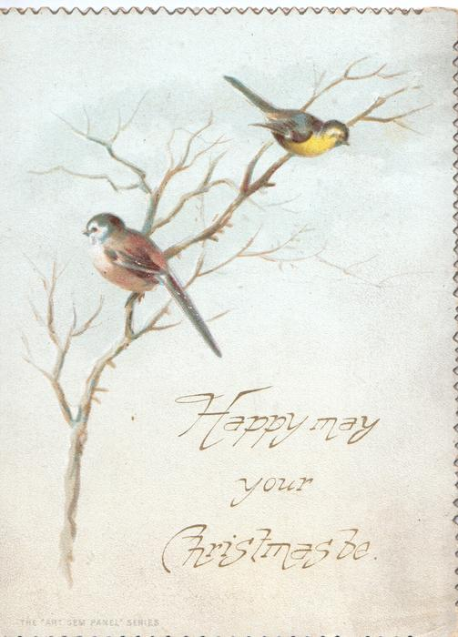 HAPPY MAY YOUR CHRISTMAS BE bluebirds of happiness perch on wintry tree, flowers, birds & snow scene on back also on back