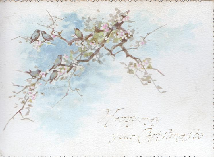 HAPPY MAY YOUR CHRISTMAS BE bluebirds of happiness perch on wild roses, flowers, & snow scene on back