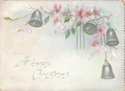 A HAPPY CHRISTMAS pink wild roses & 4 silver bells upper right,  also on back 3 bells & roses