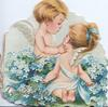 COMPLIMENTS in gilt, boy & girl angels caress, sprays of blue forget-me-nots beween them, forget-me-nots also on back