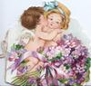 LOVES GREETINGS, boy & girl angels caress, sprays of violets front right, violets also on back