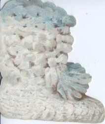 no front title, snowy white & pale blue wollen bootee front & back