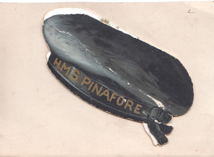 H.M.S. PINAFORE on band of black sailors cap