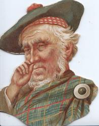 no front title, head & shoulders of tartan clad man taking snuff