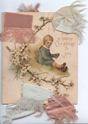 MY LOVE AND A HAPPY CHRISTMAS TO YOU, boy sits on bank right, white blossom left, ribbons above & below