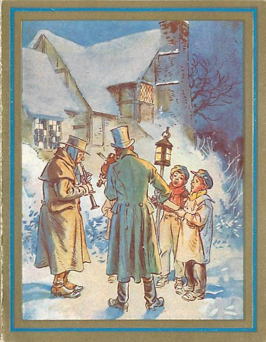 no front title, two boys sing with two adult musicians in snow, one boy holds lantern, manor behind
