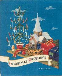 CHRISTMAS GREETINGS wrapped gifts atop table with minature church & Xmas tree, blue background