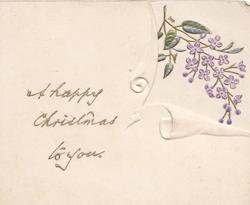 A HAPPY CHRISTMAS TO YOU left, window cut to show gilt stemmed lilac