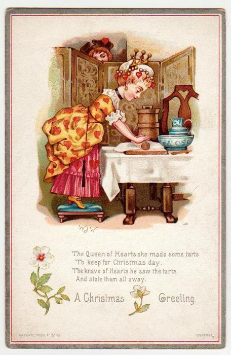 the Queen of hearts, well dressed woman rolls out pastry,