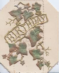 BIRTHDAY in gilt, between stylised bronzed metallic ivy leaves, much perforated