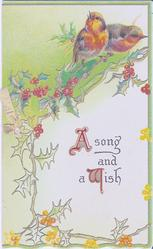 A SONG AND A WISH two robins perched on branch of holly