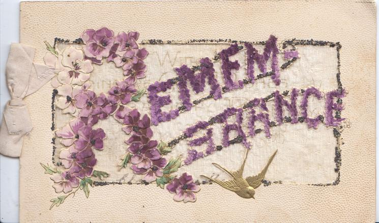 REMEMBRANCE, illuminated) in purple with purple pansies, small gilt bird of happiness below