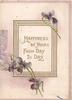 HAPPINESS BE YOURS FROM DAY TO DAY in gilt on gilt framed white plaque, few violets around