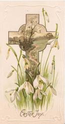 EASTER JOY below snowdrops & cross shaped rural inset