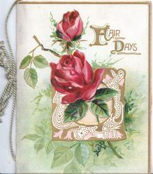 FAIR DAYS (F&D illuminated) in gilt above 2 red roses & perforated design