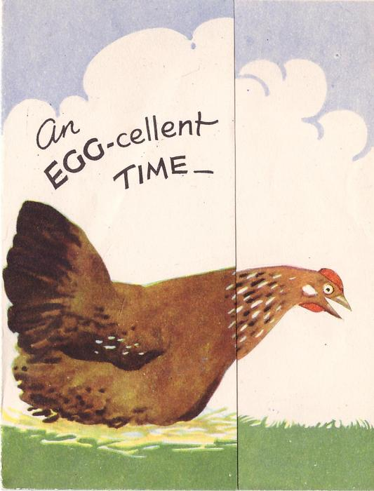 AN EGG-CELLENT TIME -- chicken on bed of hay faces right