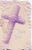 JESUS LIVES in silver, below white & purple embossed cross, marginal designs of stylised flowers & leaves
