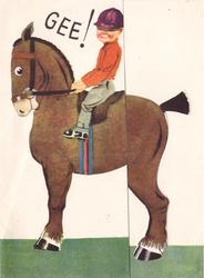 GEE! boy sits in saddle on small horse