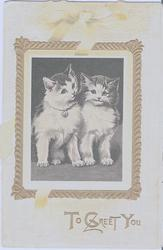 TO GREET YOU two cats in gilt frame