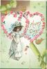 HAPPY DAYS in gilt in pink rose bordered heart shaped perforation, girl in pale blue dress & hat, carries parasol, green printed ribbon diagonally