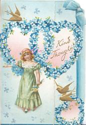 KIND THOUGHTS in gilt, intertwined forget-me-not hearts above girl in green dress carrying flowers, gilt birds of happiness, printed blue ribbon