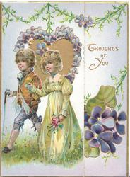 THOUGHTS OF YOU in gilt right, boy & girl walk left, violet bordered heart shaped perforated window, violets below right