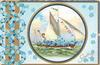 GREETINGS in gilt lower right,  forget-me-nots & gilt design, circular inset of boy in sailing ship laden with forget-me-nots