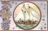 GOOD WISHES in gilt lower right,  violets & forget-me-nots & gilt design, circular inset of boy in sailing ship laden with pansies
