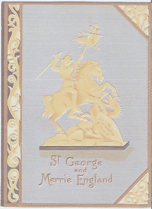 ST GEORGE AND MERRIE ENGLAND gilt logo of man on horseback