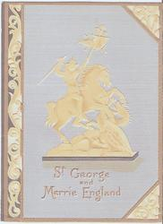 ST GEORGE AND MERRIE ENGLAND gilt logo of man on horseback