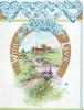 WITH LOVE white on gilt horseshoe round watery rural inset, cottages back, forget-me-nots in perforated heart design above