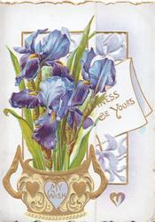 MY WISH in gilt on ornate gilt vase containing purple iris