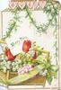 LOVE in pink gilt bordered hearts above HAPPY DAYS on placard in basket of lilies-of-the-valley & tulips, green ribbon