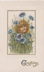 GREETINGS(G illuminated) in gilt, inset girl with frilly hair looks up behind blue cornflowers