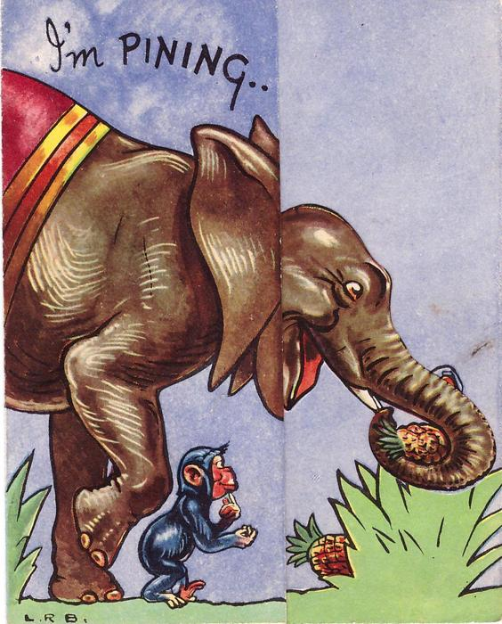 I'M PINNING elephant with die-cut head & monkey face right, elephant holds pineapple in trunk
