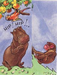 HIP! HIP!.. hippopotamus under fruit tree with parrot left, monkey right