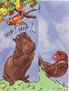 HIP! HIP!.. hippopotamus under fruit tree with parrot left, monkey right