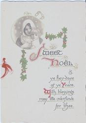 SWEET NOEL religious inset and holly leaves