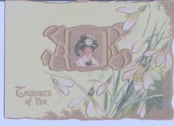THOUGHTS OF YOU gilt inset with woman in green hat, surrounded by lilies
