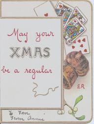 MAY YOUR XMAS BE A REGULAR (cork)ER image of cork and playing cards