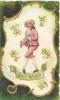 BEST WISHES boy in old-style pink attire carries flowers on white gilt margined plaque, deep green background