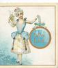 WITH LOVE in gilt on circular gilt bordered plaque held up by girl in old style blue & white dress, also holds fan