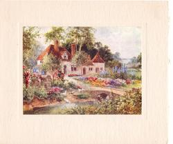 no front title, cottage in rural landscape with floral garden, pond with ducks & small stone bridge front
