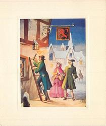no front title, couple in old style winter dress look on as man climbs ladder to light lantern, red lion banner above