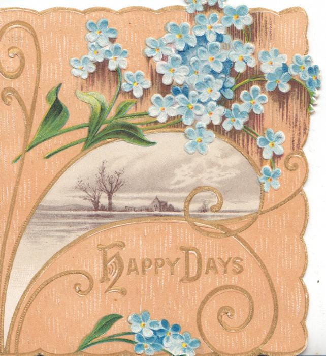 HAPPY DAYS(H & D illuminated)in gilt below small watery rural  inset & forget-me-nots, light  brown background