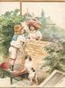 no front title, boy on left flap stands on wheelbarrow to give flowers to girl(on right flap) over wall