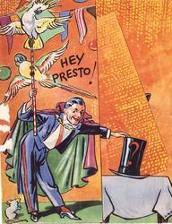 HEY PRESTO! magician & 2 cockatoos left, magician's hat, right, orange background