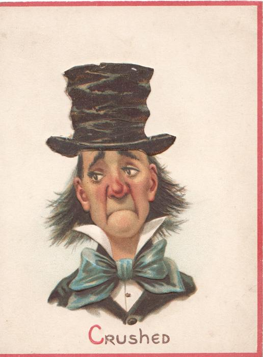 CRUSHED caricature of head & shoulders of man in upper class dress drops, 3 narrow pink margins