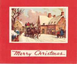 MERRY CHRISTMAS on white, stagecoach drives forward along snowy village road,  red background